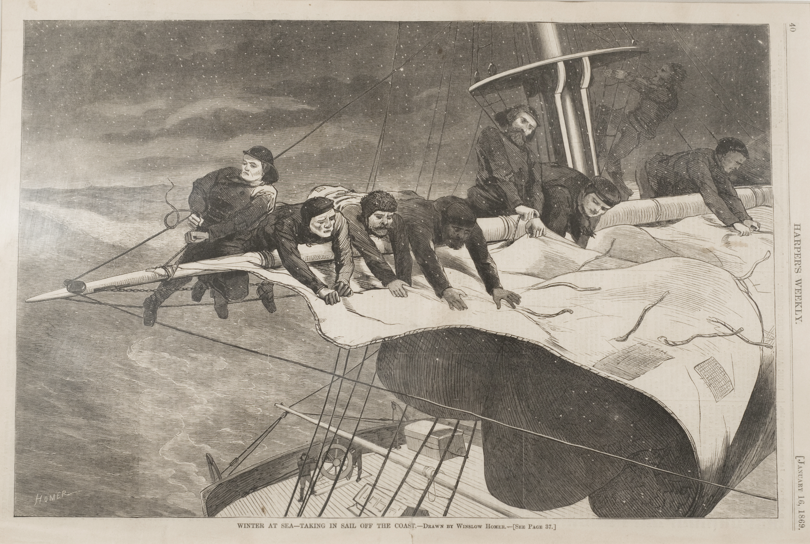 "Winslow Homer, ""Winter at Sea - Taking in Sail off the Coast (For Harper's Weekly, January 16, 1869),"" ca. 1869, Wood engraving, 12 7/8 x 8 7/8 in., William F. Brooks Fund"