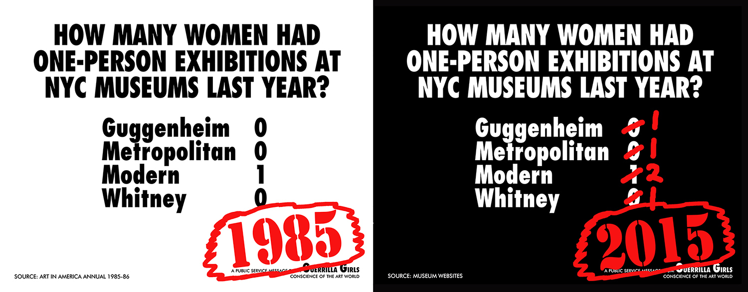 Guerrilla Girls, <i> How Many Women Had Solos Shows At NYC Museums? Recount 1985/2014</i>, 2015 Copyright Guerrilla Girls and courtesy of guerillagirls.com