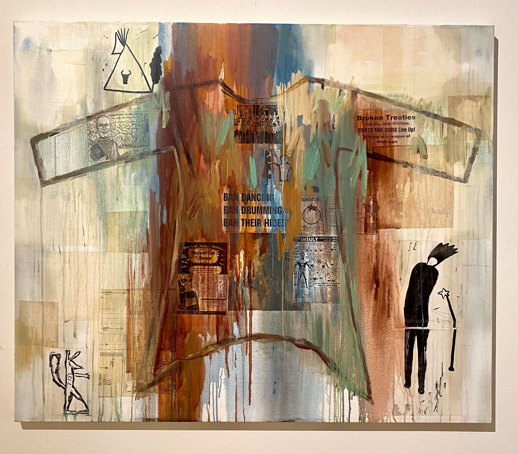 Jaune Quick-to-See Smith, <i>I See Red: Ban Dancing</i>, 1998, Mixed media on canvas, 50 × 60 × 1 in., General Purchase Fund and William and Bette Batchelor Memorial Acquisition Fund