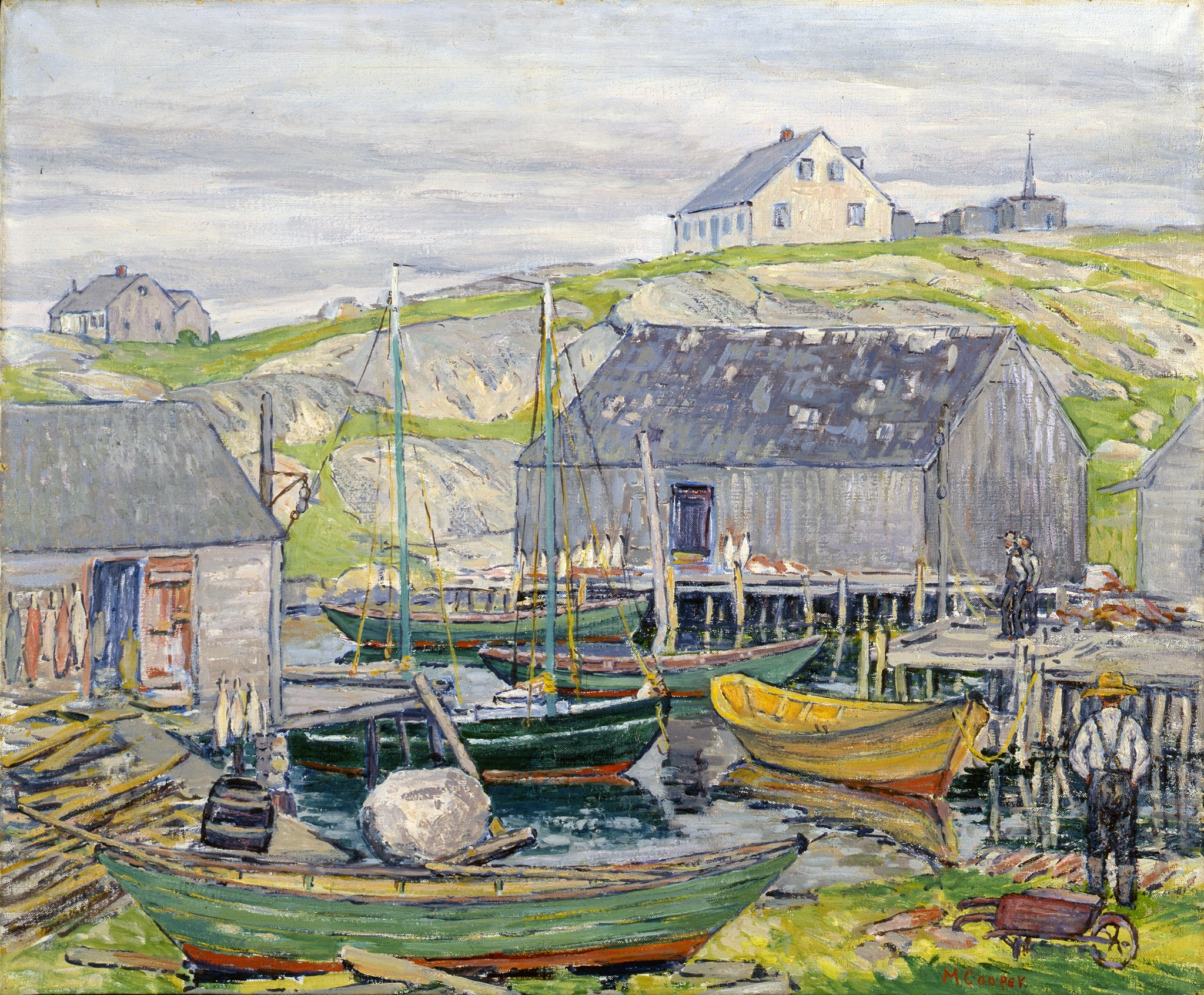 "Margaret Miller Cooper, <i>Fishing Boats, Nova Scotia</i>, Peggy's Cove,"" 1929, Oil on canvas, 25 x 30 in., Grace Judd Landers Fund"