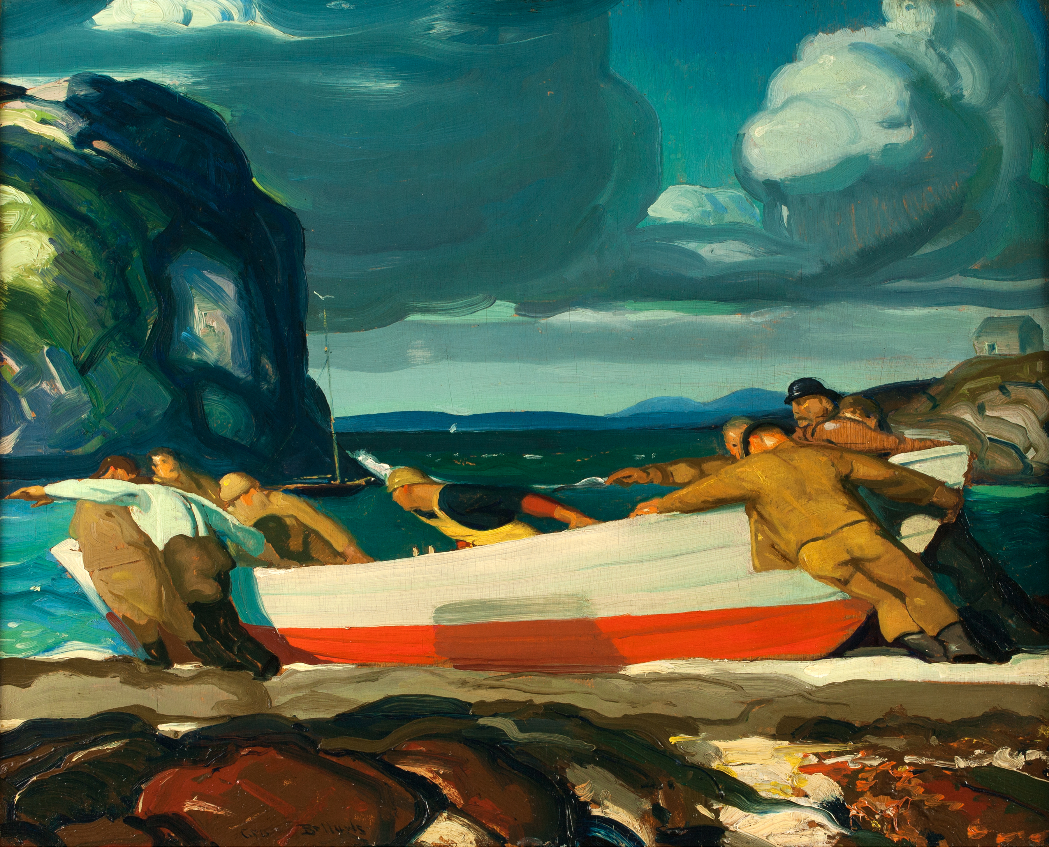 "George Wesley Bellows, ""The Big Dory,"" ca. 1913, Oil on wood panel, 71/6 x 8 11/16 in., Harriet Russell Stanley Fund"