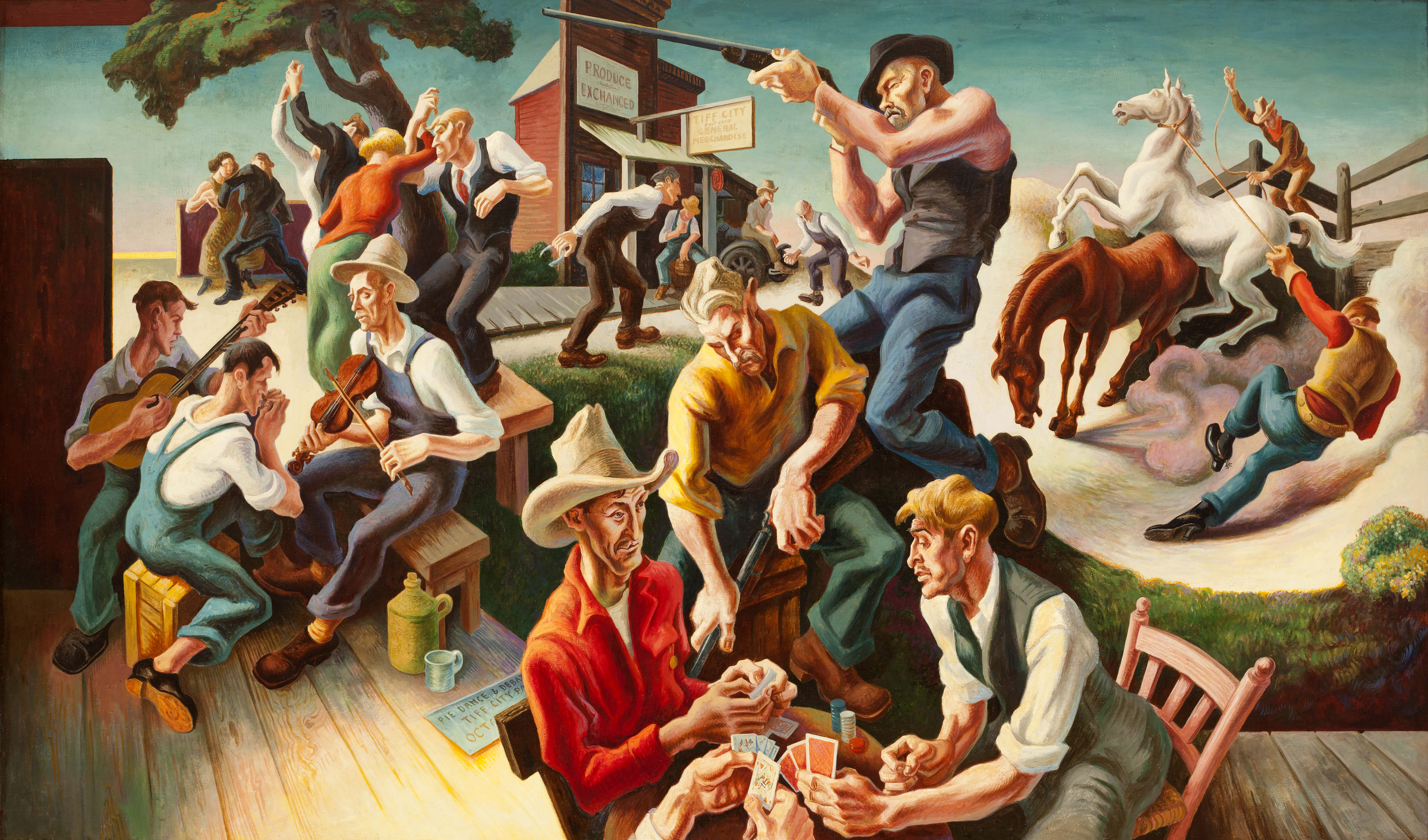 Thomas Hart Benton, <i>The Arts of Life in America: Arts of the West, </i> 1932, Egg tempera and oil glaze on linen, 93 3/4 x 159 1/2 in., Harriet Russell Stanley Fund