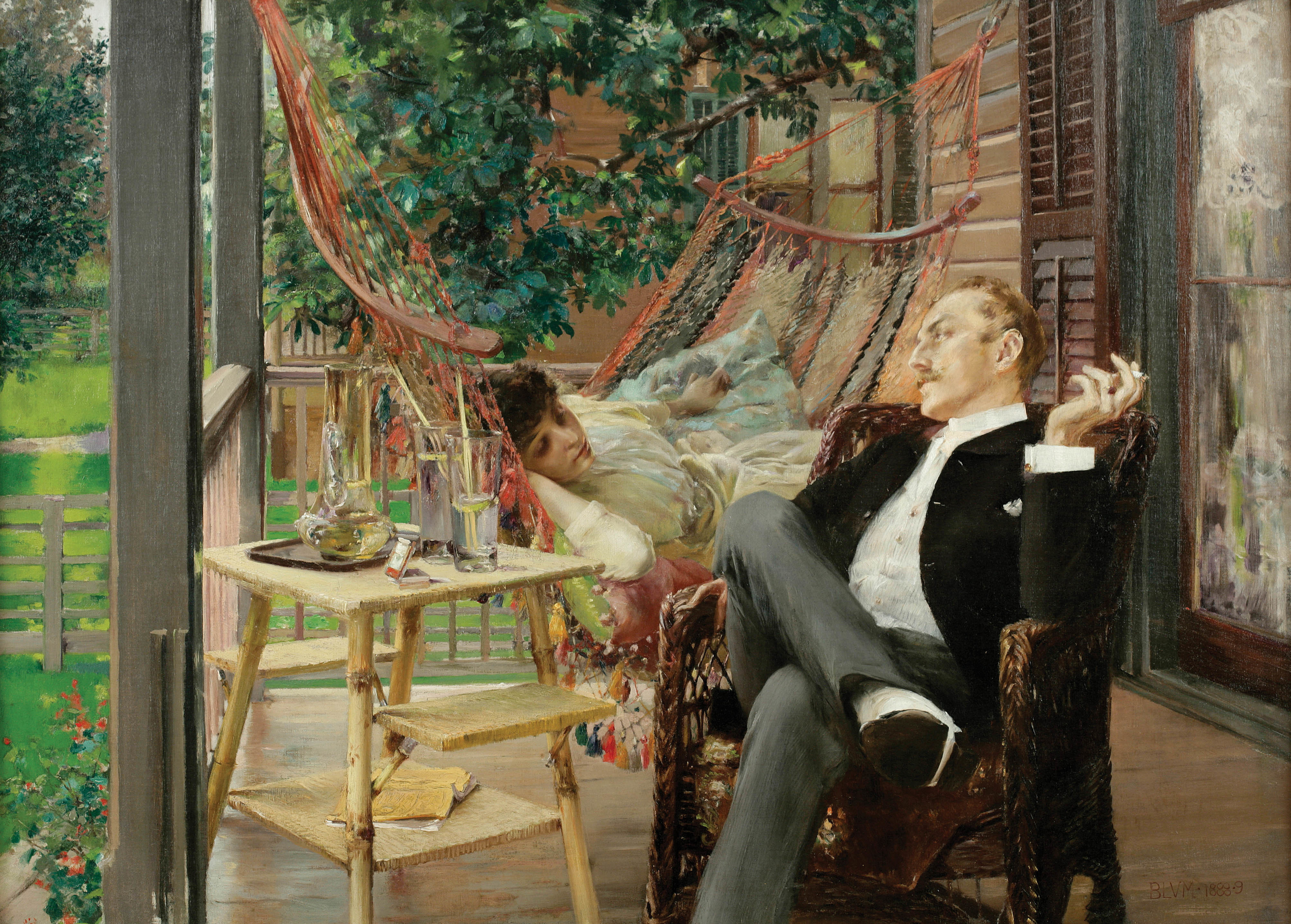 "Robert Frederick Blum, ""Two Idlers,"" ca. 1888-1889, Oil on Canvas, 29 x 40 in., National Academy of Design, New York, Courtesy American Federation of Arts"
