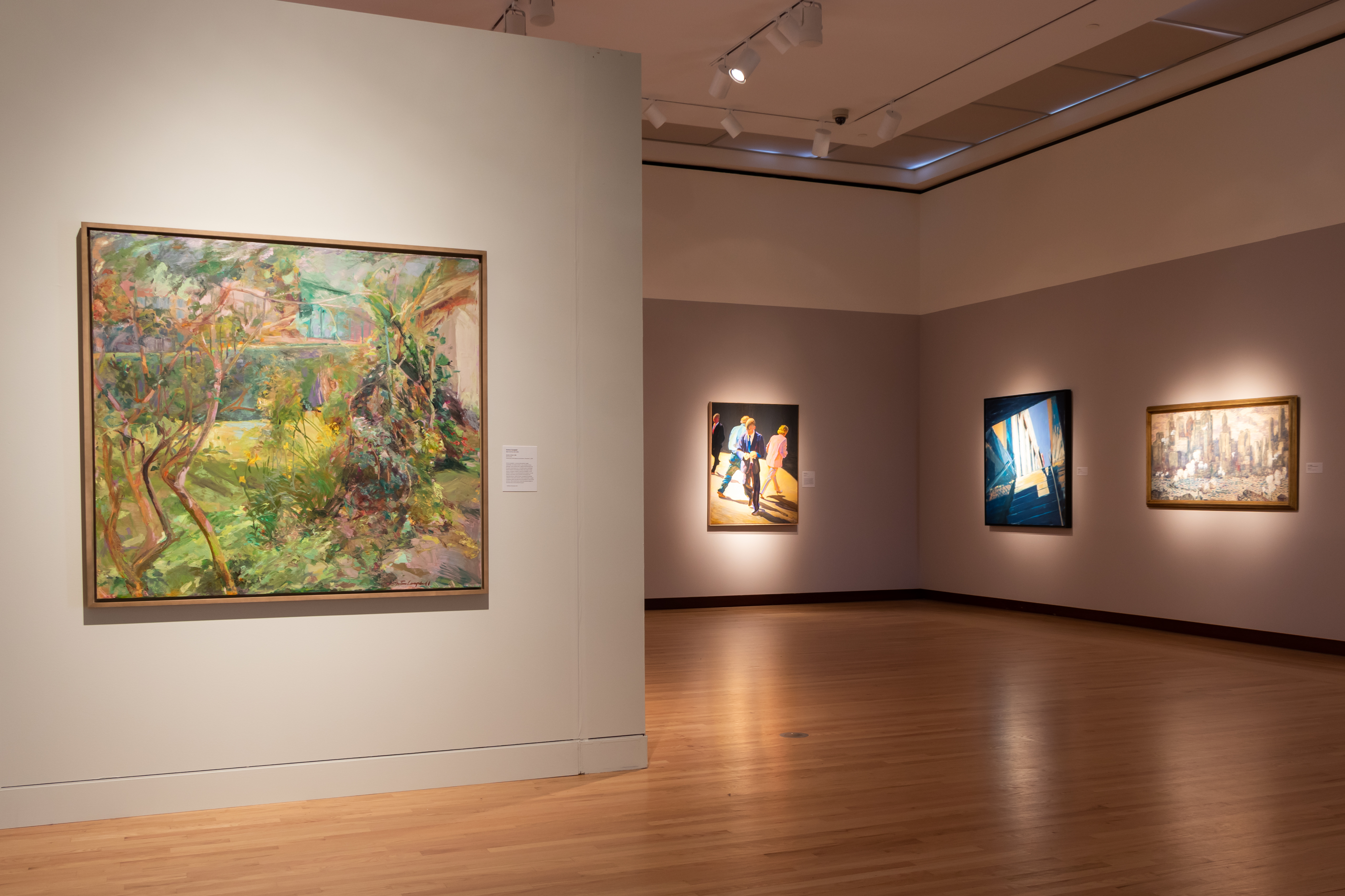 "Pictured: Gretna Campbell, ""Garden in Brazil,"" William Clutz, ""Autumn Street,"" David Kapp, ""Coming out of the Subway,"" Guy Carleton Wiggins, ""Manhattan"""