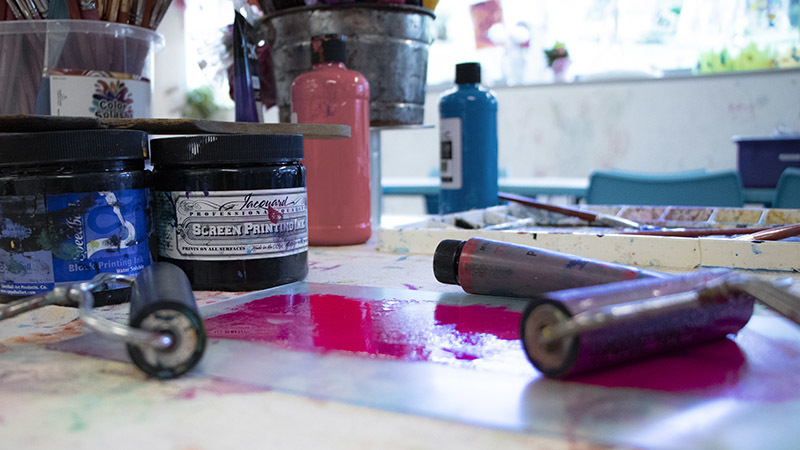 Printmaking supplies in the studios