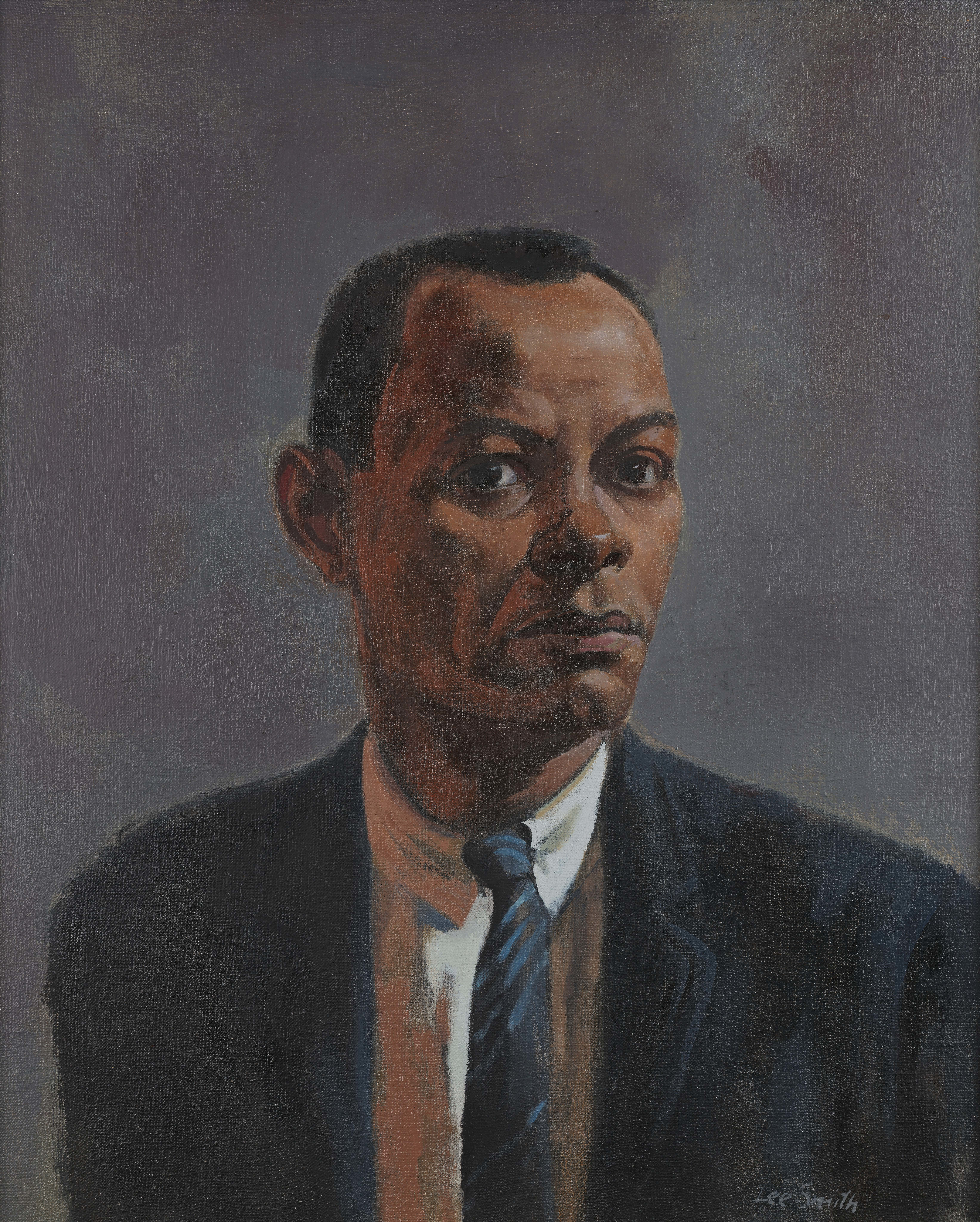 """Hughie Lee-Smith, """"Self-Portrait,"""" Oil on canvas, 24 x 20 in., National Academy of Design, New York"""