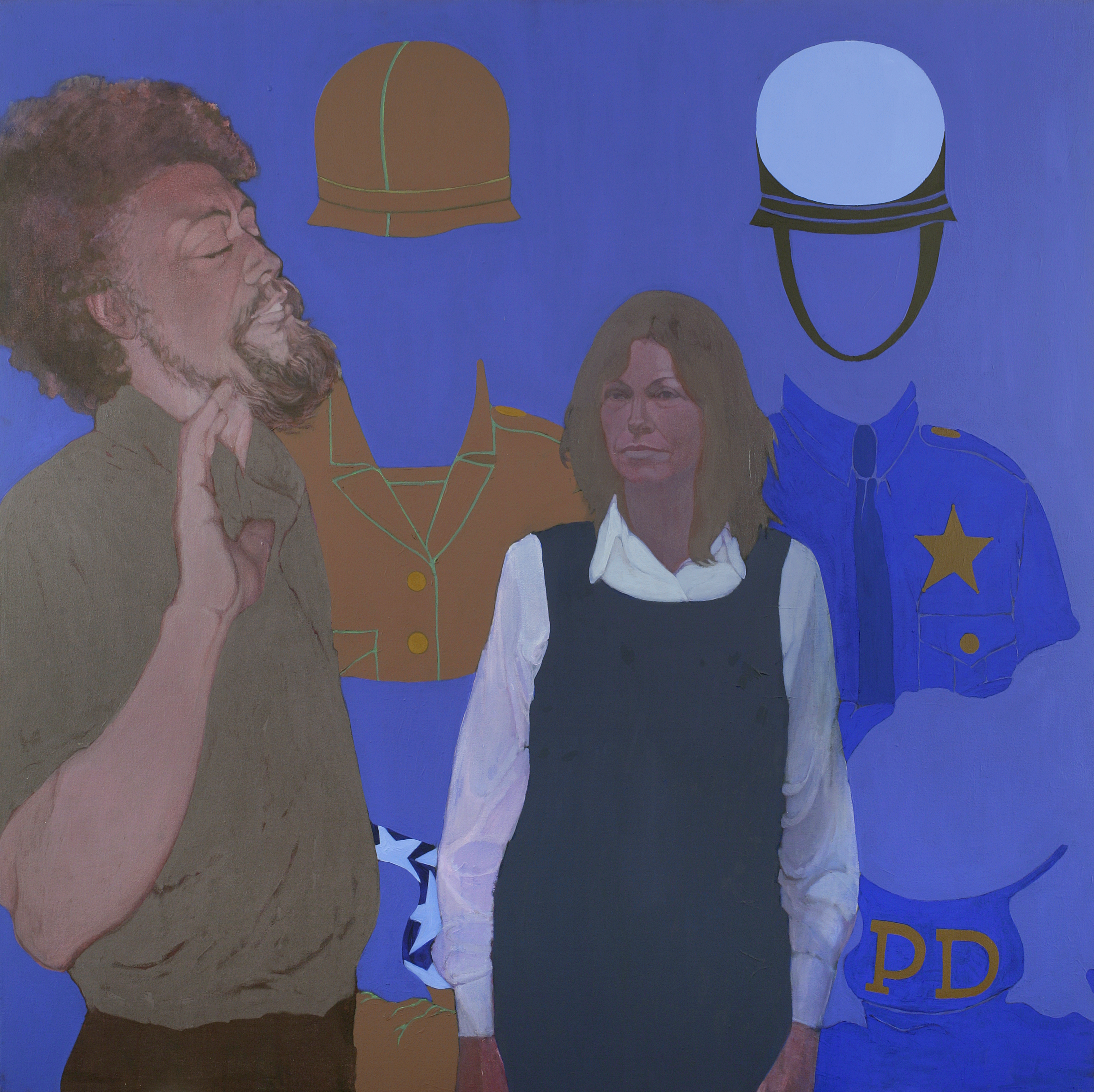 "May Stevens, ""Benny Andrews, the Artist, and Big Daddy Paper Doll,"" 1976, Acrylic on canvas, 60 1/4 x 60 1/4 in., National Academy of Design, New York"