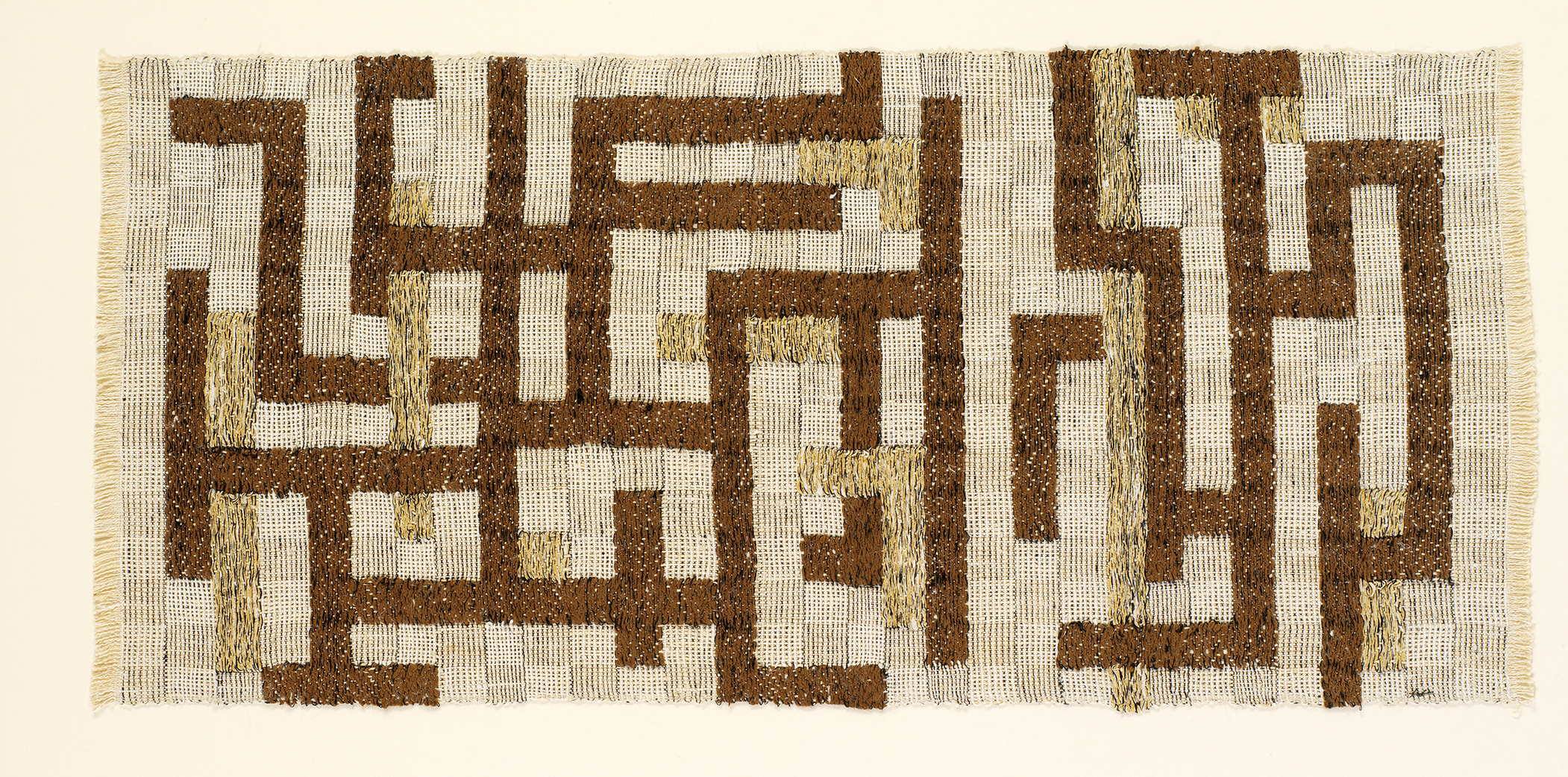 """Anni Albers, """"Two,"""" 1952, Linen, cotton, rayon, 19 x 40 in., © The Josef and Anni Albers Foundation / Artists Rights Society (ARS), New York 2019"""
