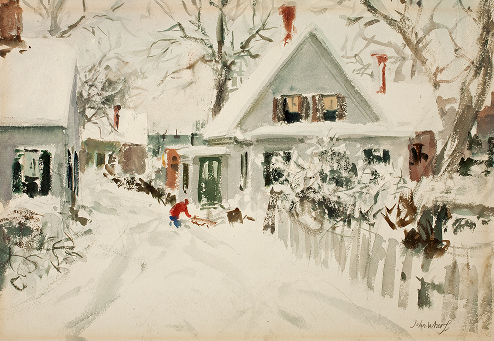 """John Whorf, """"New England Winter,"""" ca. 1940, Watercolor on paper, 15 1/2 x 22 3/8 in., Gracce Judd Landers Fund"""
