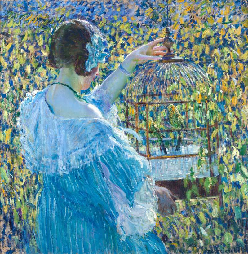 "Frederick Carl Frieseke, ""The Bird Cage,"" ca. 1910, Oil on canvas, 32 x 32 in., John Butler Talcott Fund"