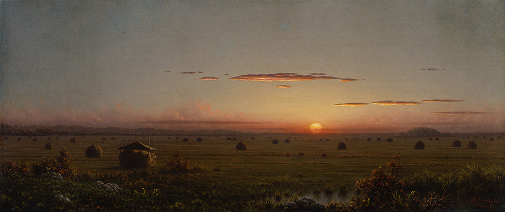 """Martin Johnson Heade, """"Ipswich Marshes,"""" ca. 1867, Oil on canvas, 12 x 28 in., Stephen B. Lawrence Fund"""