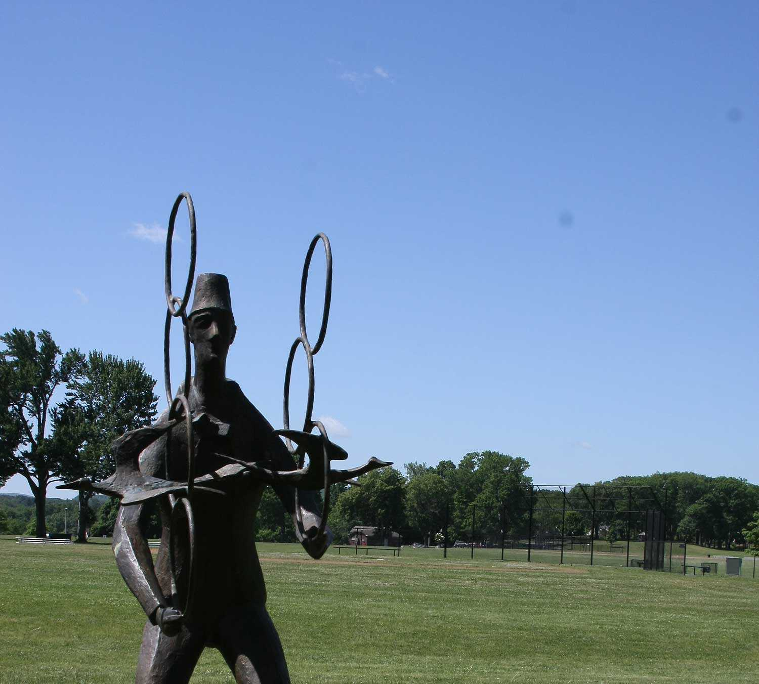 <p>Chaim Gross, <i>The Juggler,</i> 1975, Bronze, Long Term Loan from the Renee and Chaim Gross Foundation</p>