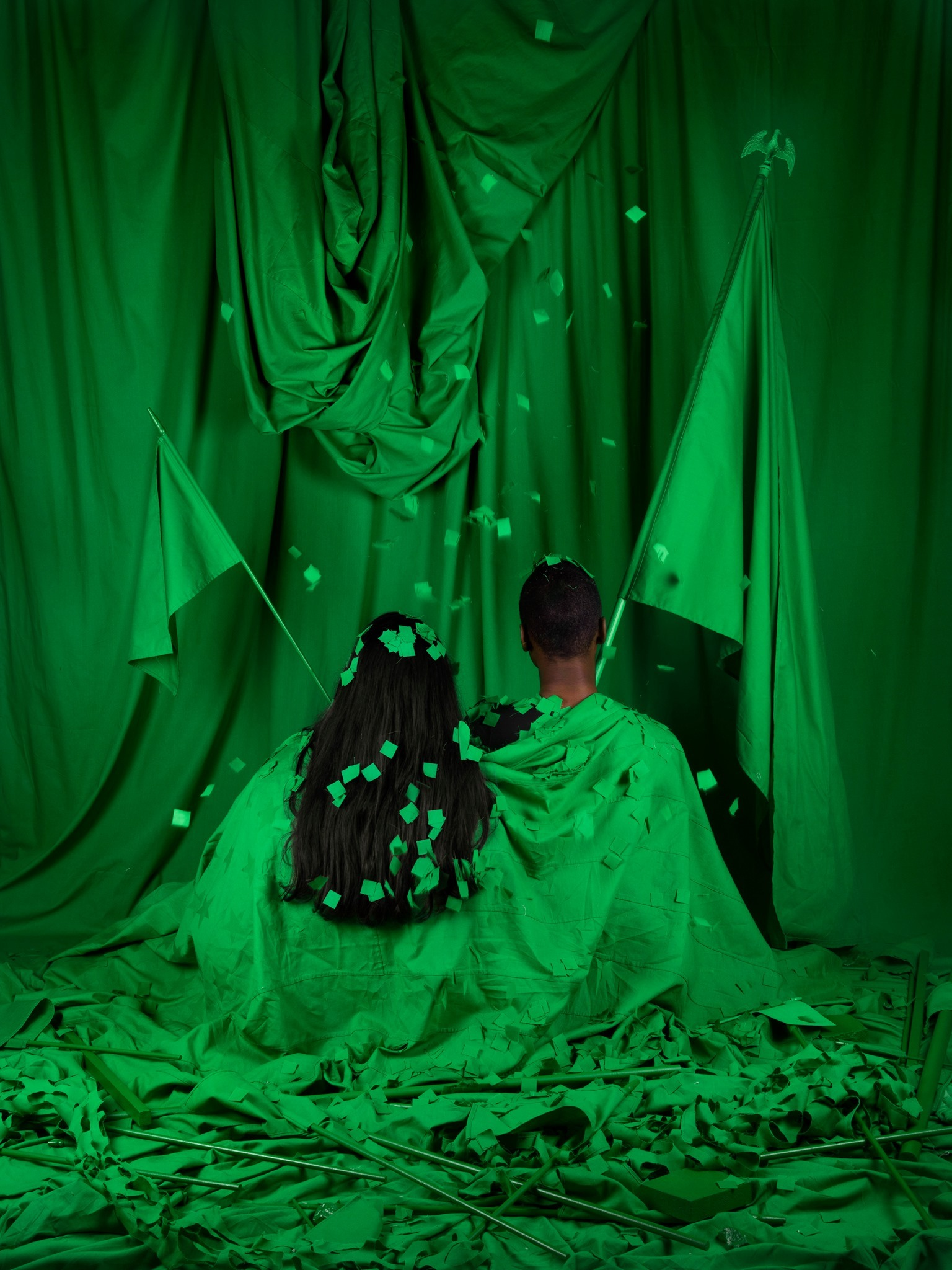 Stephanie Syjuco, <i>Chromakey Aftermath (Standard Bearers)</i>, 2019, Archival pigment print, 40 × 30 in.