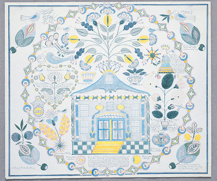 Polly Jane Reed, A Present from Mother Lucy to Eliza Ann Taylor, 1849, Ink and watercolor on paper, 21 3/4 x 23 3/4 inches, Collection of Hancock Shaker Village, Pittsfield, MA