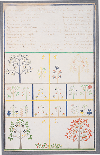 Polly Collins, A Gift from Mother Ann to the Elders of the North Family, 1854, Ink and watercolor on paper, 26 3/4 x 19 1/5 inches, Collection of Hancock Shaker Village, Pittsfield, MA