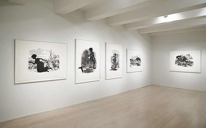 """Kara Walker """"Harper's Pictorial History of the Civil War (Annotated)"""" portfolio, 2005, Offset lithography and silkscreen on Somerset Textured paper, Installation view, Pace Prints, New York, 2013, Photo: Pace Prints © Kara Walker"""