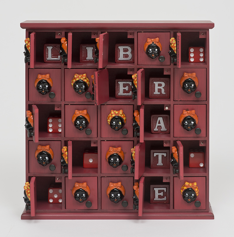 """Betye Saar, """"Liberate (25 mammies),"""" 2015, Mixed media assemblage, 12 x 11.33 x 2.5 in., Photo Courtesy of the artist and Roberts Projects, Los Angeles, California; Photo Brian Forrest"""