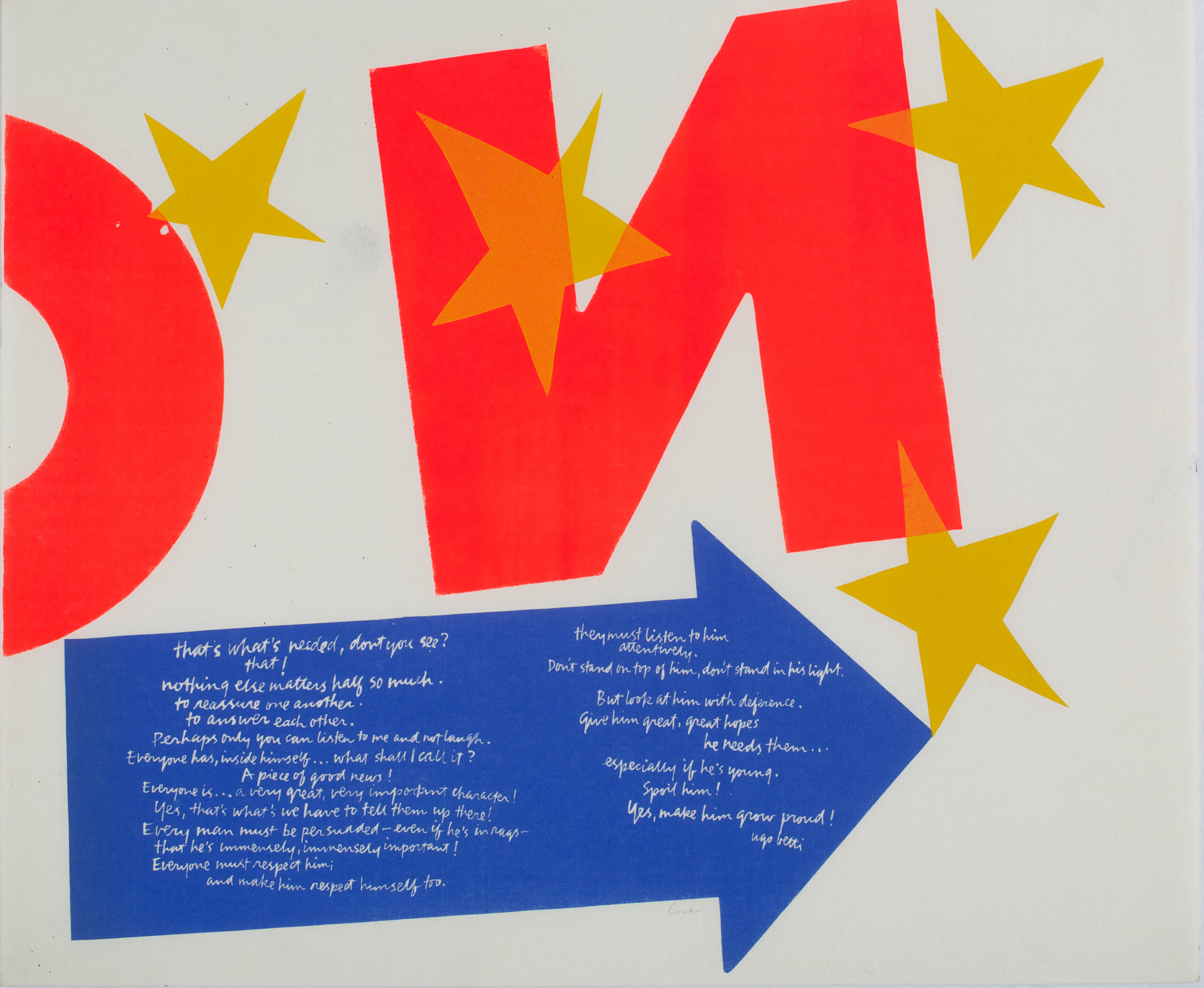 Corita Kent, <i> Stars</i>, 1967 Color silkscreen, 29 3/8 x 29 3/4 in. New Britain Museum of American Art, Gift of John Fitzgerald, 1968.01 © 2019 Estate of Corita Kent/ Immaculate Heart Community/ Licensed by Artists Rights Society (ARS), New York