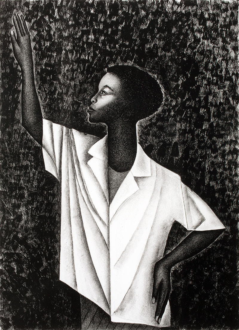"""Elizabeth Catlett, """"Waving,"""" 1989, Lithograph, 23 3/8 x 17 in., New Britain Museum of American Art, Jane and Victor Darnell Fund, 1993.60"""