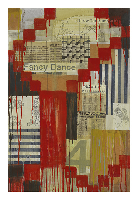 """Jaune Quick-to-See Smith, """"Fancy Dance,"""" 2003, Mixed media on canvas, 36 x 24 inches, Photo Credit: Courtesy of the artist and Garth Greenan Gallery, New York"""