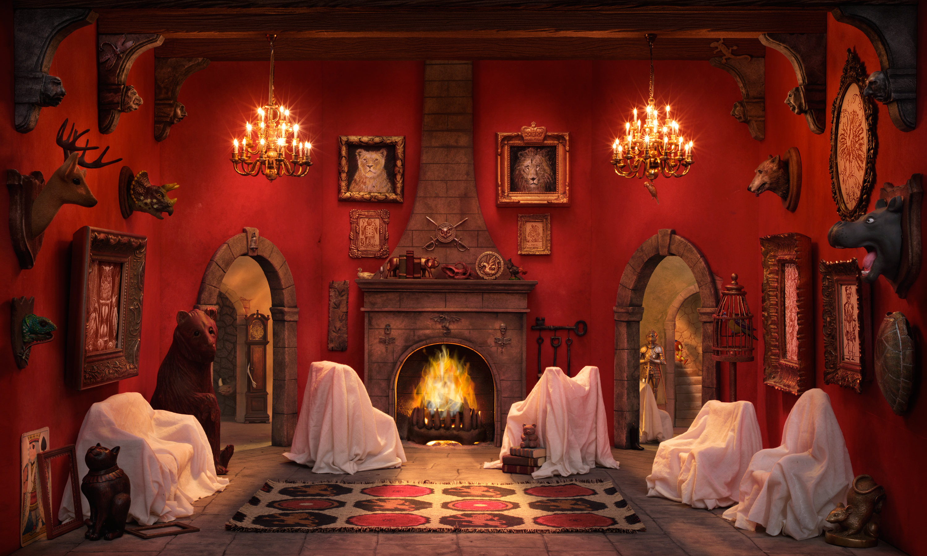 Walter Wick, <i>In A Scary Scary Castle from Can You See What I See? On A Scary Scary Night (Red Room)</i>, 2007, Pigmented inkjet photograph, 50 x 30 in., Gift of Walter Wick and Linda Cheverton Wick, 2015.116.13LIC