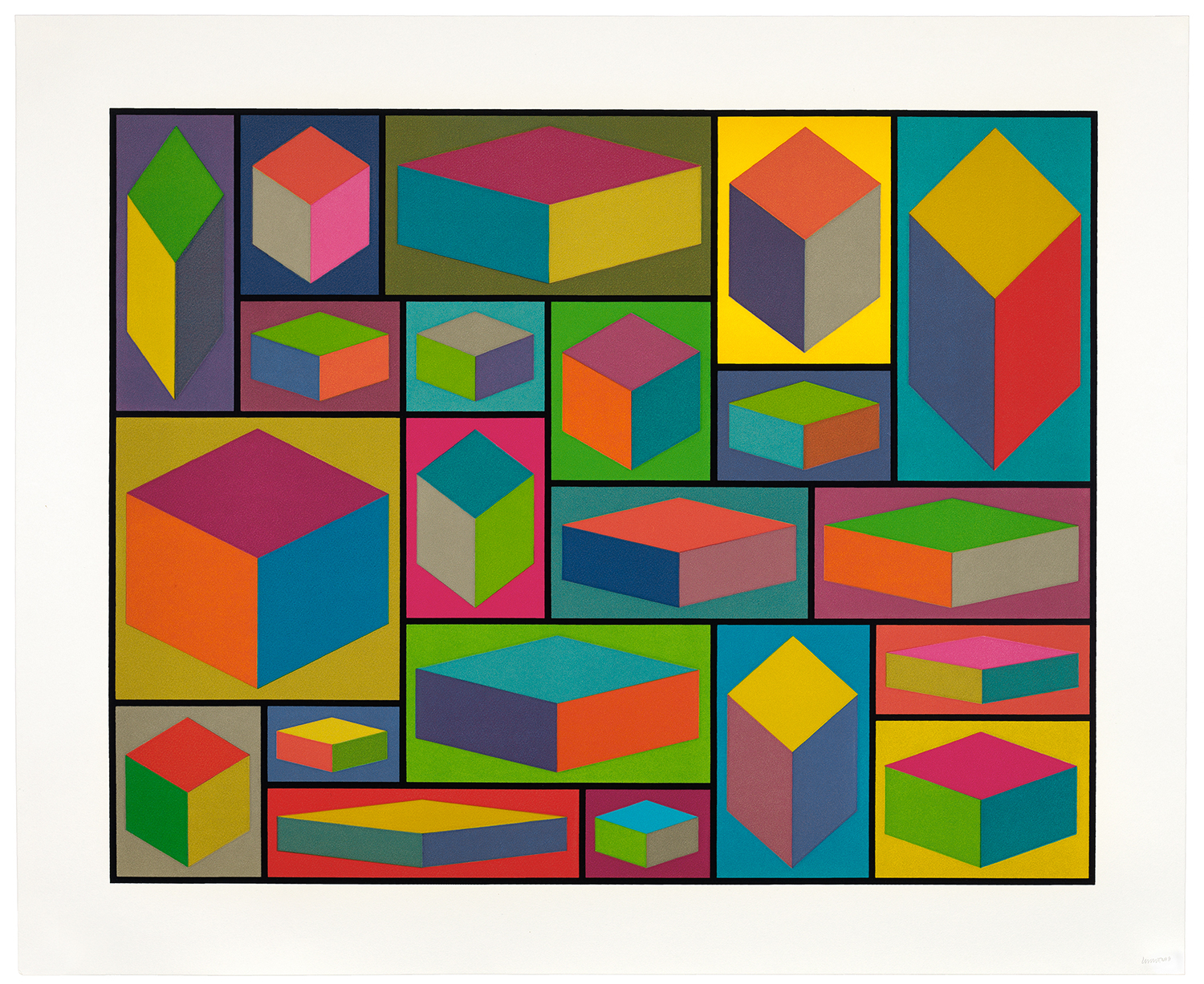 Sol LeWitt, <i> Distorted Cubes</i>, 2001, Set of 5 linocuts, 28 x 35 in., Catalogue Raisonne, NBMAA Collection