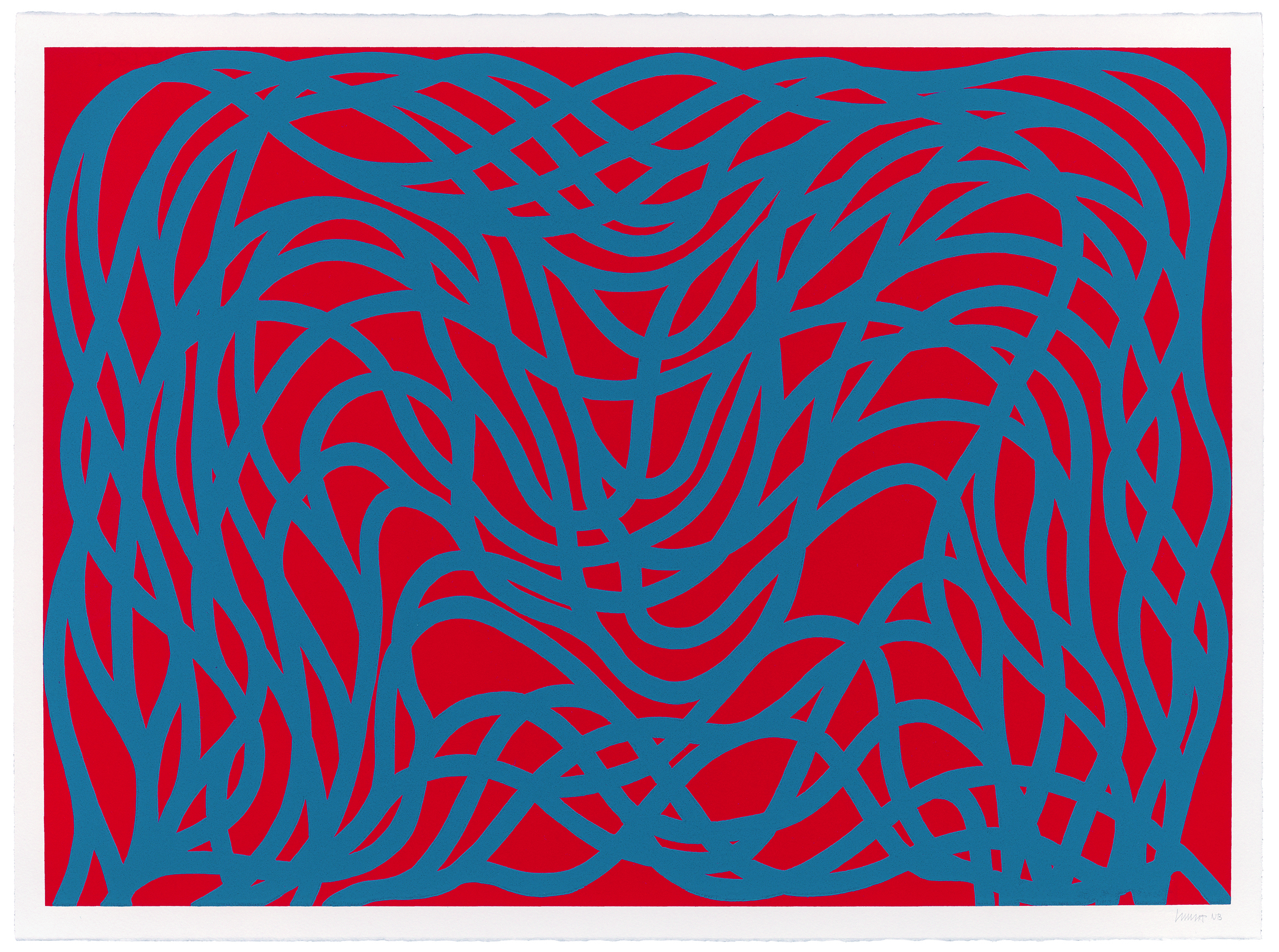 Sol LeWitt, <i> Loopy Doopy, Blue/Red</i>, 2000, Color woodcut, 20 5/8 x 28 5/8 in., New Britain Museum of American Art