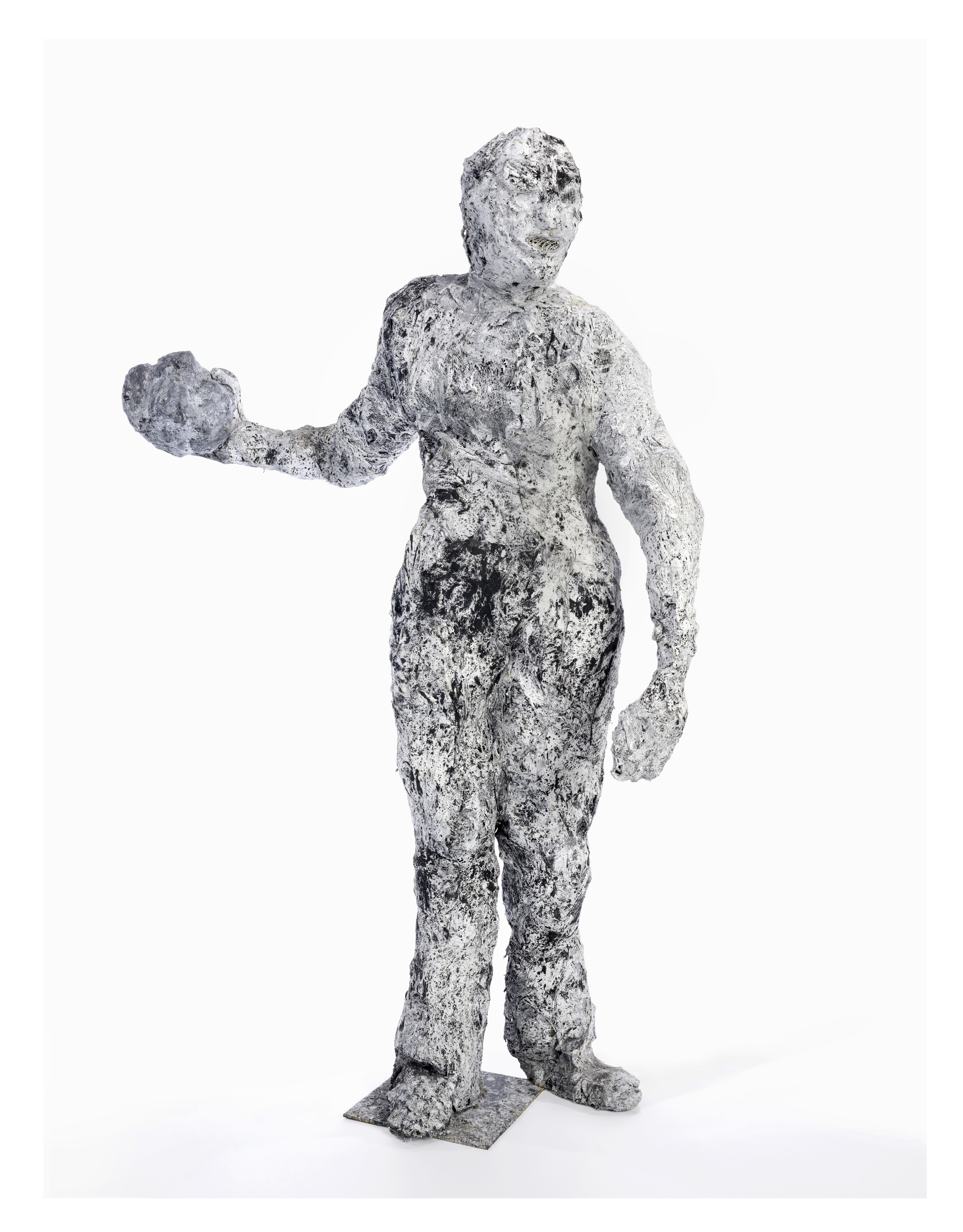 Cara Perlman,<i> Rock Thrower</i>, 1991 Plaster, wire, gauze, enamel paint 61 x 43 x 22 inches LeWitt Collection, Chester, Connecticut Photo: Cultural Preservation Technologies, Inc.